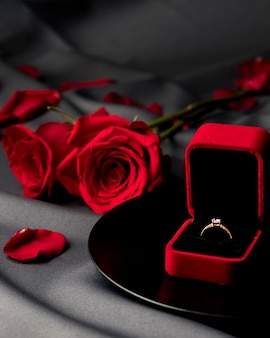 Valentine's day roses and engagement ring