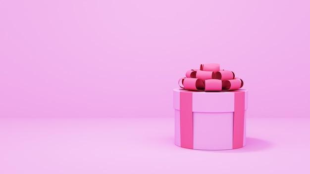 День святого валентина продажа розовый фон. композиция с подарочными коробками и сердечками. 3d визуализация