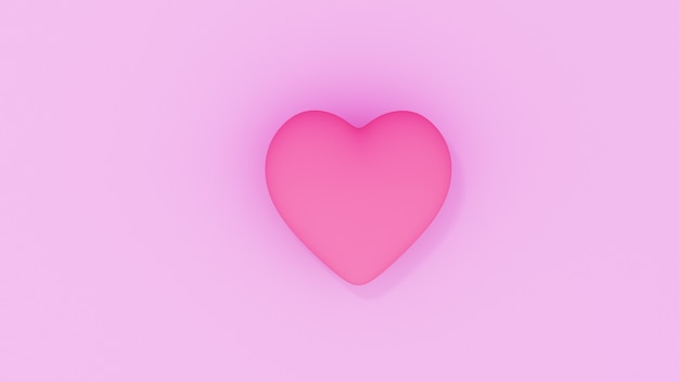 Valentine's day sale pink background. composition with heart. 3d render