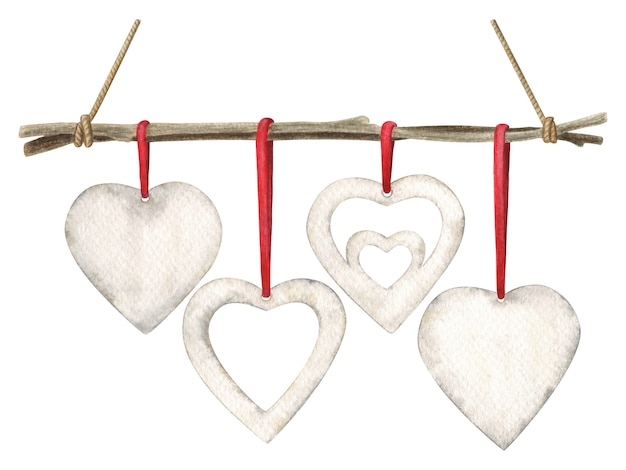Valentine's day scandinavian style decoration. hand-drawn watercolor illustration isolated on white