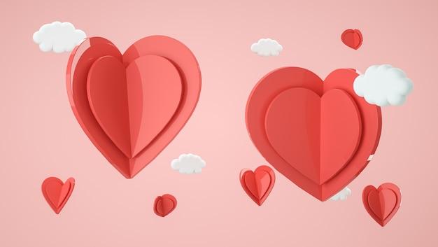 발렌타인 데이 장면. 디스플레이 제품, 선물 및 광고용 모양. 3d 렌더링