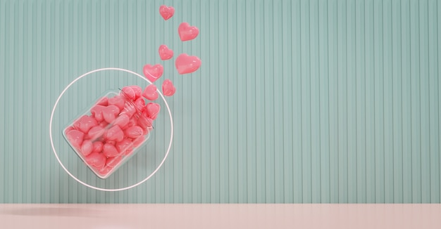 Valentine's day showcase decorate with love and geometry design shape. concept for valentine's day and wedding background. 3d rendering.