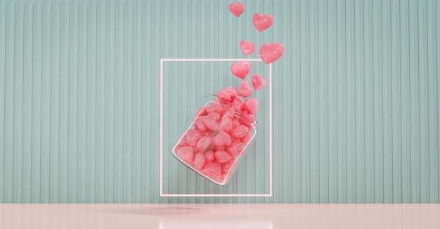 バレンタインデーのショーケースは、ラブズボトルで飾ります。バレンタインデーと結婚式の背景のコンセプト。 3dレンダリング。