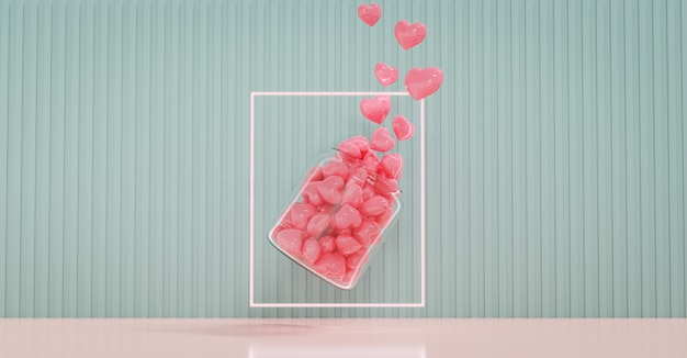 Valentine's day showcase decorate with loves bottle. concept for valentine's day and wedding background. 3d rendering.