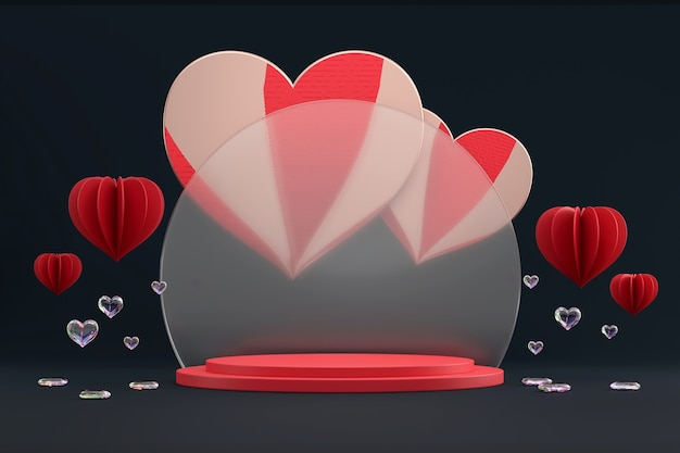 Valentine's day stage podium platform with hearts decoration for product showcase 3d render