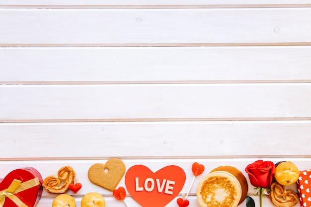 Valentine's day stuff on lumber background