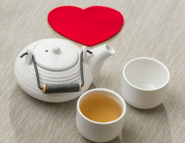 Valentine's day surprice for couple. romantic tea set with red heart