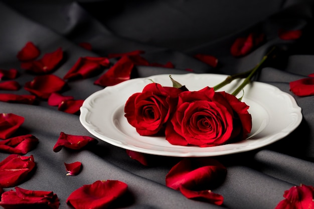 Valentine's day table set with roses on plate