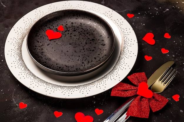 검은 배경에 발렌타인 테이블 설정입니다. 고품질 사진