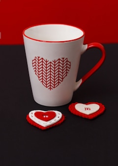 Valentine's day with hearts and cup