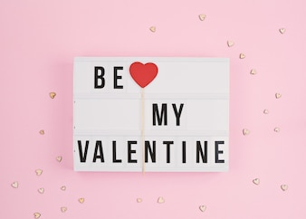 Valentine's day with light box text Be My Valentine