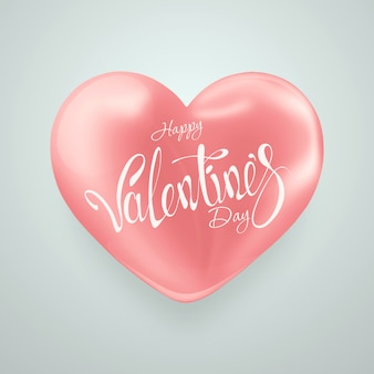 Valentine's day with pink big heart on light