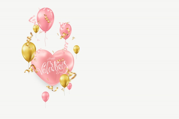 Valentine's day with pink and gold balloons on light