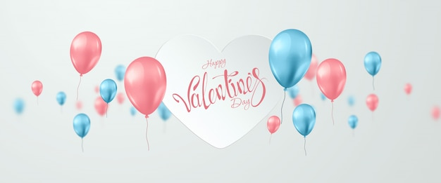 Valentine's day with pink and turquoise balloons on light