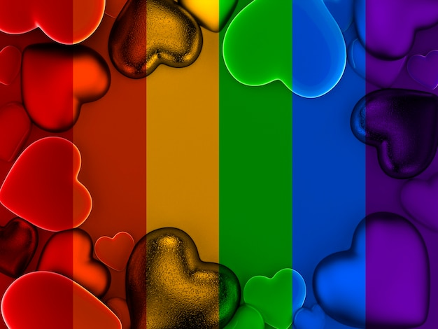 虹のプライド色のバレンタインの心の背景
