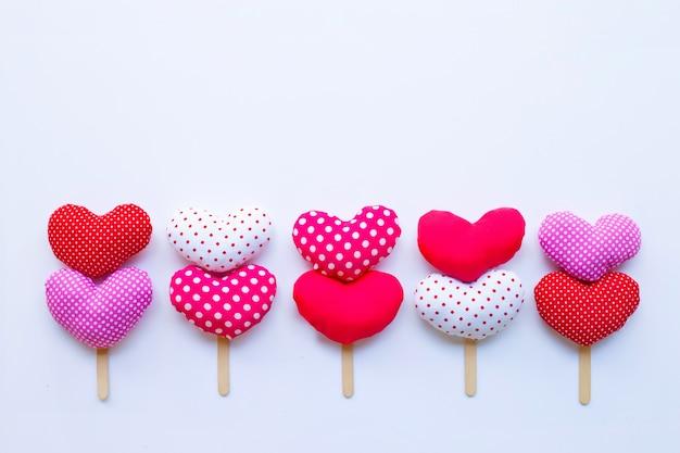 Valentine's hearts on white background.