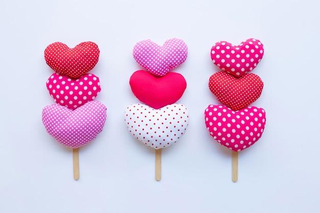 Valentine's hearts on white.