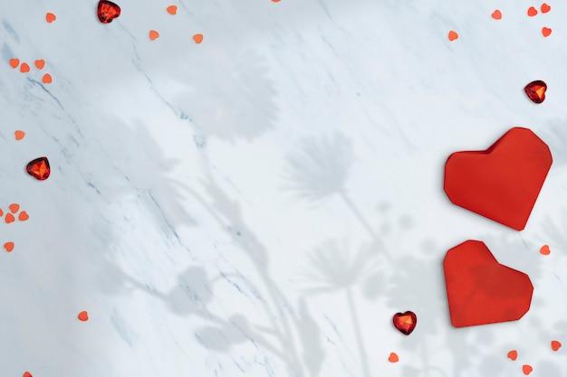 Cornice del cuore della carta da parati di san valentino, concetto di amore e supporto