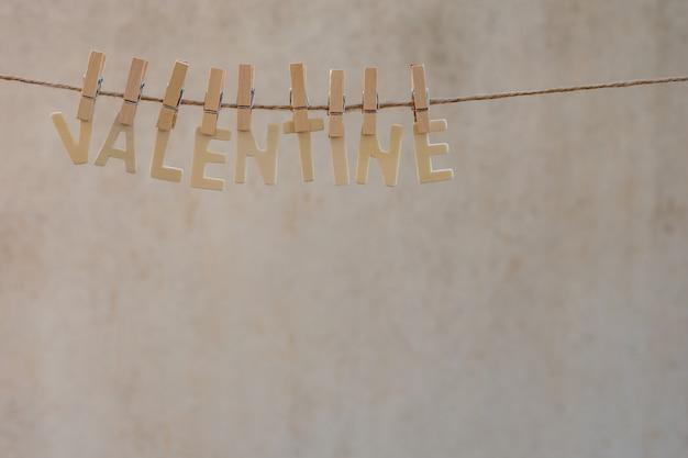 Valentine word on the clothesline