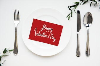 Valentines card served on a dish
