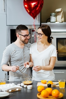 Valentines couple cooking