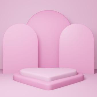 バレンタインデー、ピンクの空のスタジオルーム、最小限の製品背景、表示用のテンプレートモックアップ、幾何学的形状を備えた3dハート型の表彰台または台座