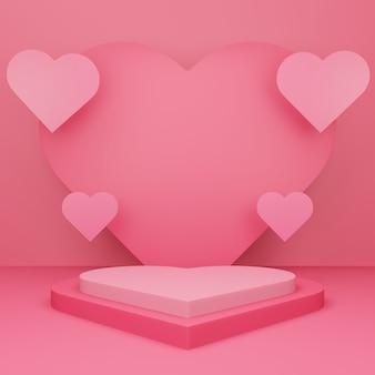 バレンタインデー、赤い空のスタジオルーム、3dハート型の表彰台または台座、ハートが浮かぶ最小限の製品背景、表示用のテンプレートモックアップ