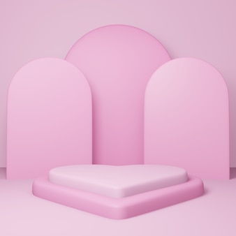 Valentines day, 3d heart shape podium or pedestal with pink empty studio room, minimal product background, template mock up for display, geometric shape