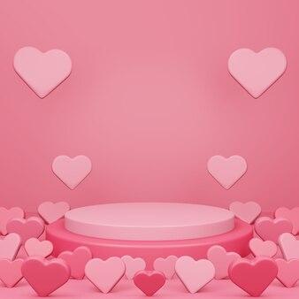 バレンタインデー、3dの丸い表彰台または台座、赤い空のスタジオルーム、最小限の製品の背景、ハートが浮かんで床に、テンプレートのモックアップを表示
