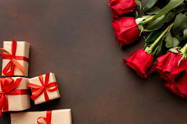 Valentines day assortment with roses and wrapped gifts