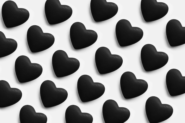 Valentines day background. black textured heart isolated on white.