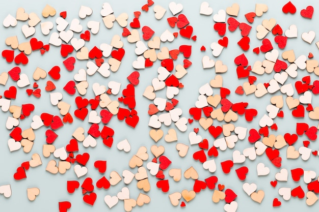 Valentines day background pastel  hearts on blue  background.greeting card.
