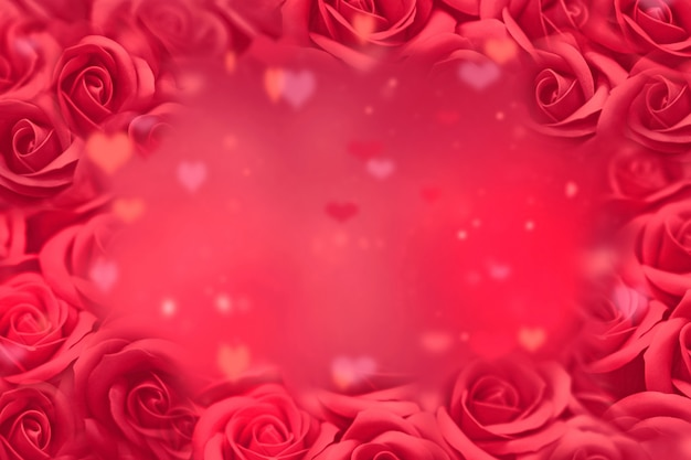 Valentines day background, red roses and blured hearts on abstract romantic background. valentines day concept.