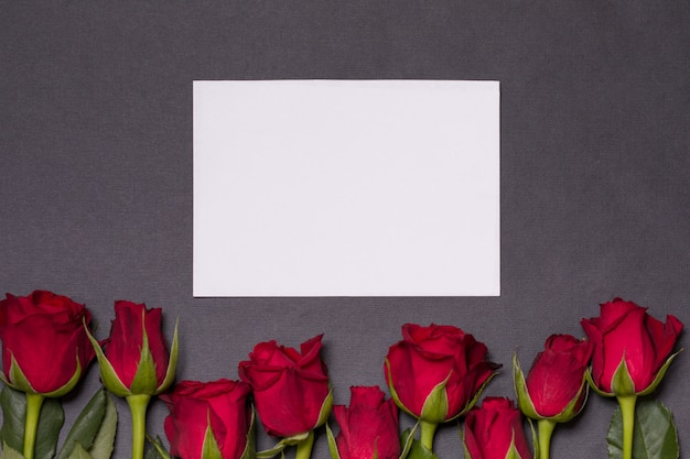 Valentines day background, seamless black background, red roses, empty note card