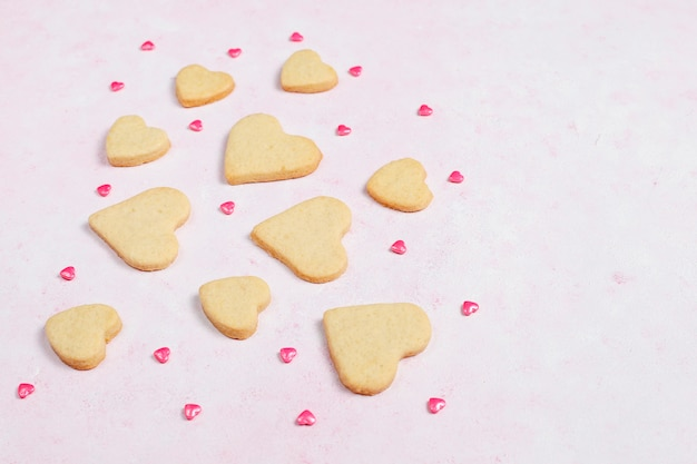 Valentines day background, valentines day hearts shaped cookies,top view