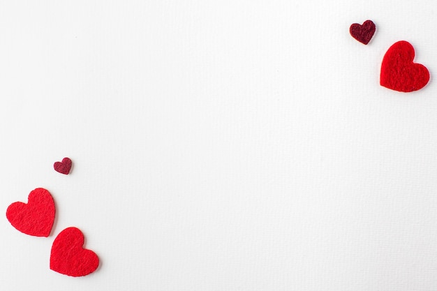 Valentines day background white background with hearts