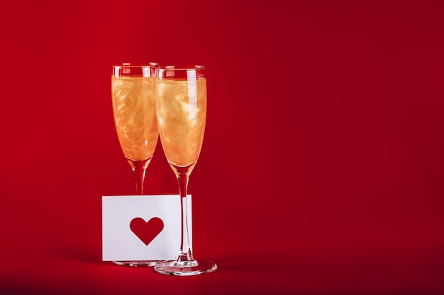 Valentines day background with champagne glasses