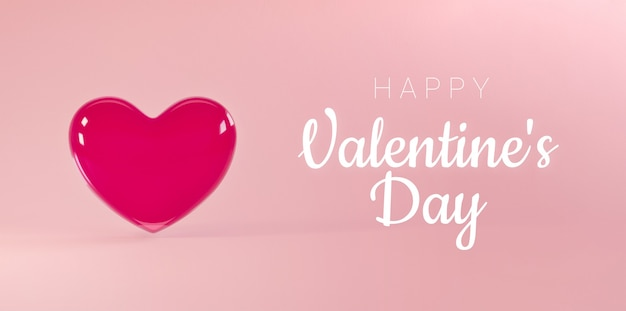 Valentines day background with flying realistic glass heart and happy valentines day text.