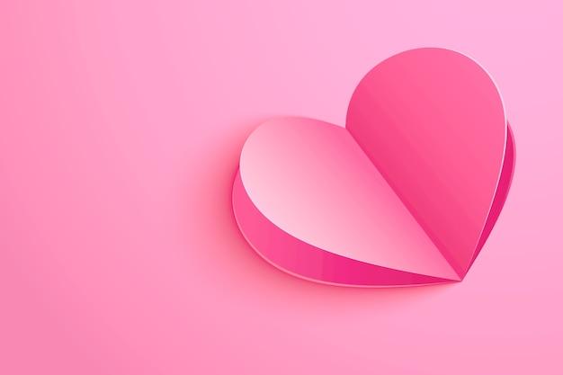 ピンクのパステルカラーの紙の形のハートとバレンタインデーの背景。