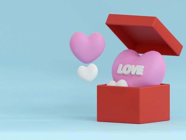 現実的なお祝いのギフトボックスとバレンタインデーの背景赤とロマンチックなプレゼントピンクのボックス