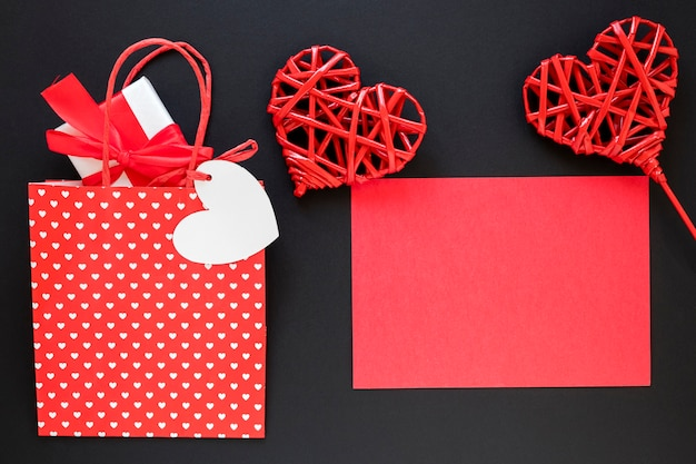 Valentines day bag with gift and paper