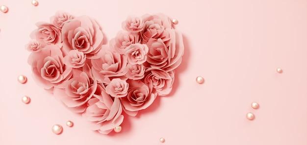 ピンクの花の心とバレンタインデーのバナーの背景