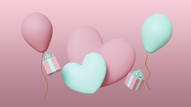 Valentines day banner pink background with hearts, balloons and gifts. 3d render.