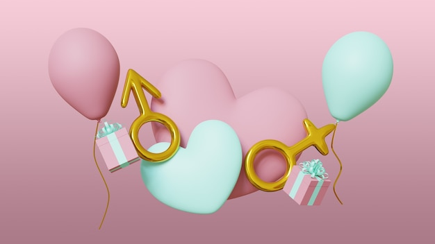 Valentines day banner pink background with hearts, balloons, gifts, female and male sign. 3d render.