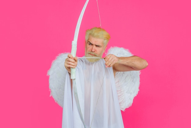 Valentines day, bearded angel with bow and arrow,  cupid in valentine day, arrows of love.