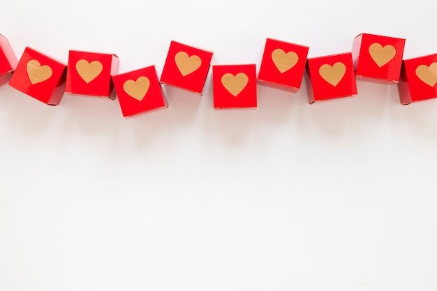 Valentines day boxes with copy space