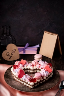 Valentines day cake with copy space and present