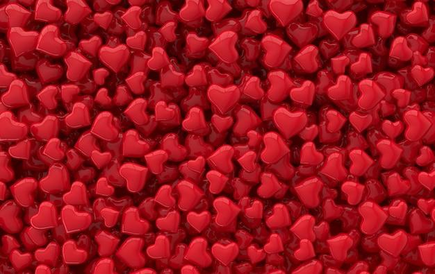 バレンタインデーキャンディーハートパターン3dレンダリングイラスト。