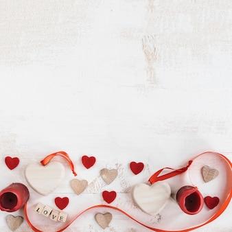 위에 복사 공간 발렌타인 구성