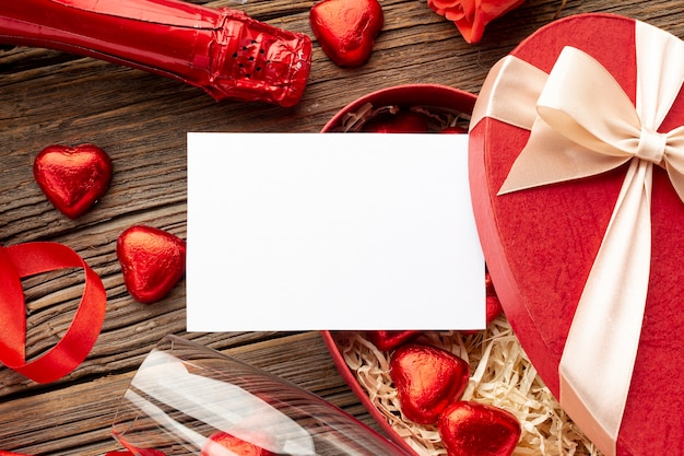 Valentines day composition with empty card